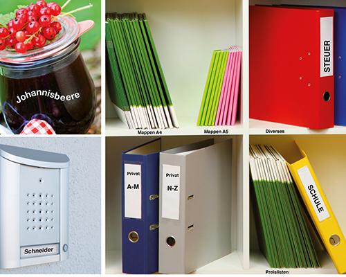 Beschriftung von Büromaterialien, Klingelschildern, Gläsern