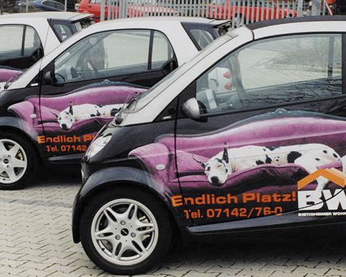 Teilfolierung von Firmenwagen