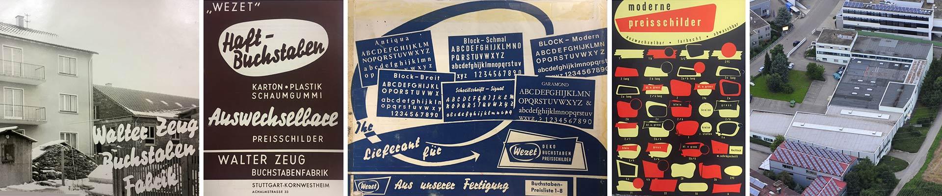 Werbeplakate der Wezet Beschriftungsfabrik aus der Vergangenheit